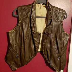 Free People brown faux leather vest sz large